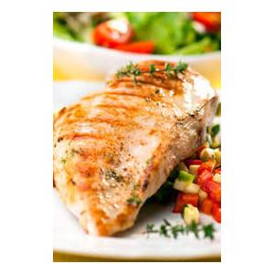 escalope de poulet poelée, légumes